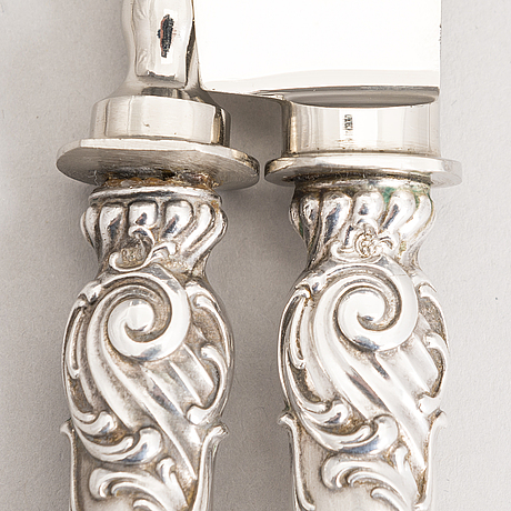 Silver serving cutlery, three with mark of ferdinand timper, helsinki 1901-02 and a pair with german marks, ca. 1900.