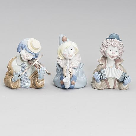 Figuriineja, 3 kpl, posliinia, lladró, espanja 1988.