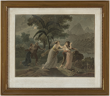 FÄrgakvatinter, 2st, av charles melchior descourtis (1753-1820).