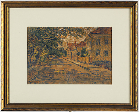 Nils kreuger, chalk drawing, signed and dated 1917.