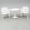 An end of the 20th century garden aluminum pair of armchairs and table.