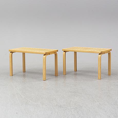 A piar of model 153 birch benches by alvar aalto for artek. designed 1945.