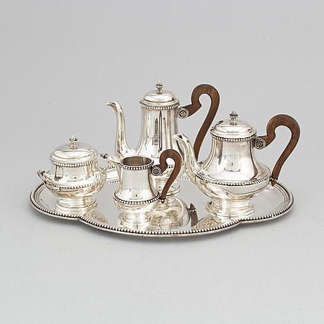 S five piece silver coffee set, paris, france, early 20th century.