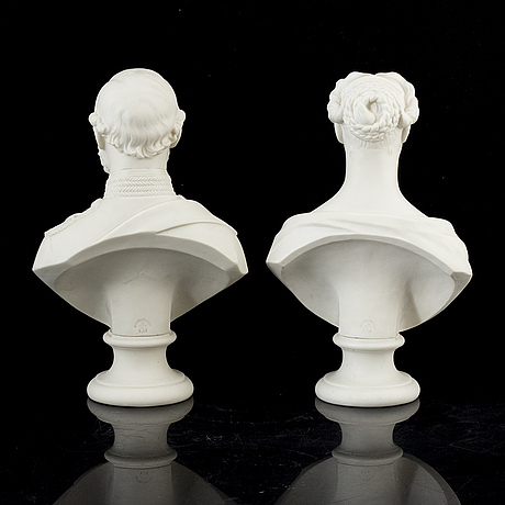 A pair of porcelain busts, gustafsberg, mid 19th century.