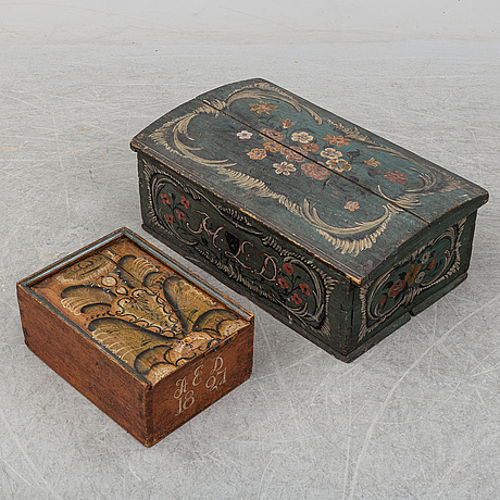 A 19th century painted box and casket.
