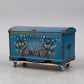 A painted century chest, dated 30/10 1860.