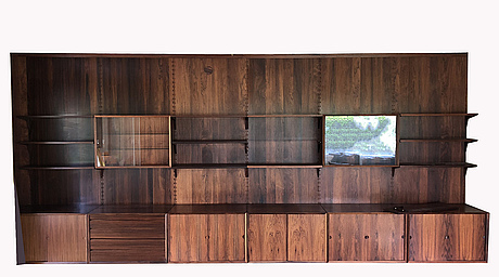 Poul cadovius, a rooswood 'royal system' shelving unit, third quater of 20th century, denmark.