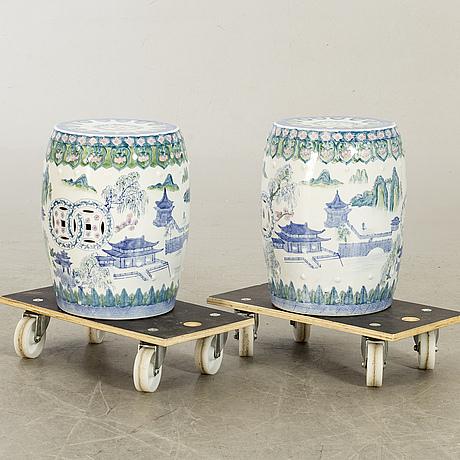 Garden stools late 20th century porcelain.