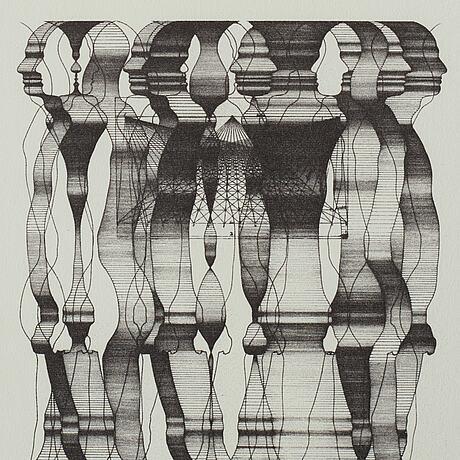 Sivert lindblom, litografi, signerad, daterad 1968.