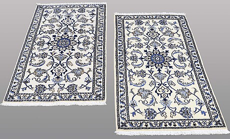 Two nain rugs, ca 136 x 67  and 134 x 68 cm.