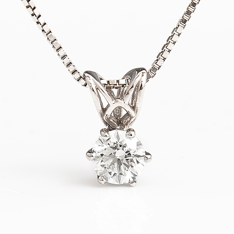A 14k white gold neclöace with a ca. 0.50 ct brilliant cut diamond.