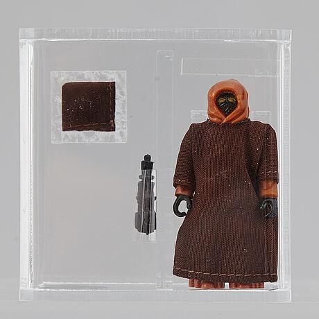 Star wars, loose action figure / hk, jawa removable hood, afa 80 nm, 1977 lili ledy.