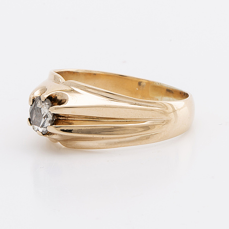 Ring 14k gold 1 rose-cut diamond approx 0,15 ct.
