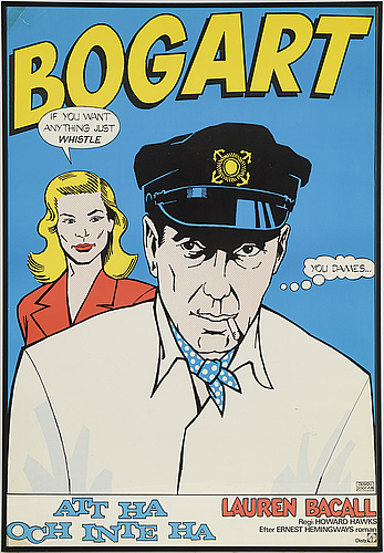 A 'att ha och inte ha' ('to have and have not') vintage movie poster, humphrey bogart and lauren bacall, 1973.