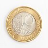 A 10 mark coin in gold and silver, 1999.