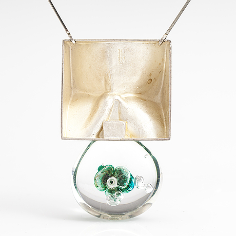 "BjÖrn weckstrÖm, a sterling silver and acrylic necklace ""big drop"". lapponia 1973."