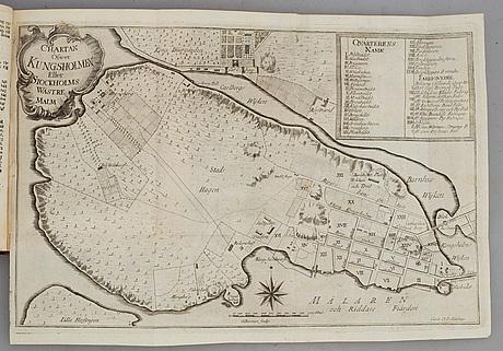 Stockholmiana i hedbergband, med graverad karta, 1754.
