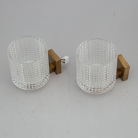Carl fagerlund, a pair of wall lights, orrefors. 1960-tal.