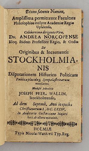 Den äldsta avhandlingen om stockholm, 1685.