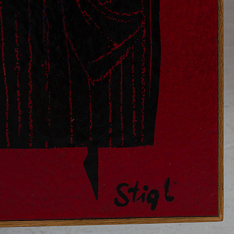 Stig lindberg, an enamel table top, triva, nordiska kompaniet, circa 1960.