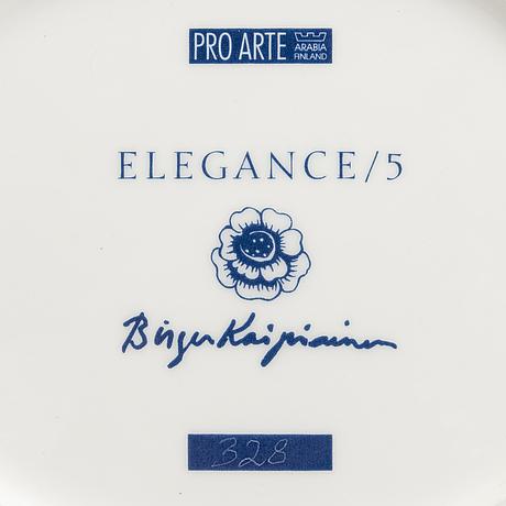 "Birger kaipiainen. a decorative porcelain dish, ""elegance/5"", numbered 328. pro arte, arabia."