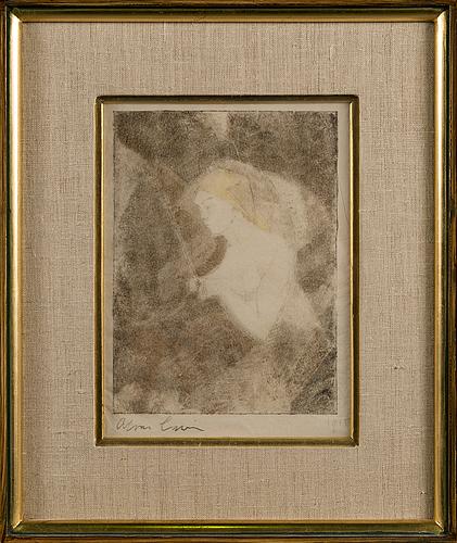Alvar cawÉn, monotypi, signerad och daterad 1915.
