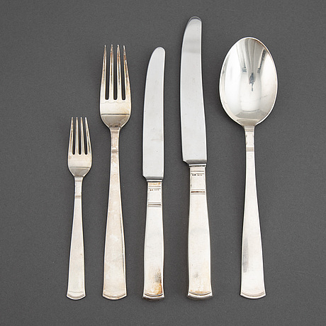 Jacob Ängman, a silver cutlery, 'rosenholm', some stockholm 1950. (19 pc).