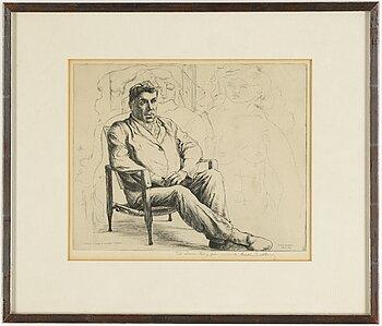 "HARALD SALLBERG, etching, ""Portrait du Peintre Georges Braque"", signed."