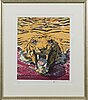 Tapani mikkonen, colour lithograph, signed and dated 08, numbered 76/100.