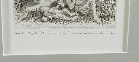 Simo hannula, etsaus, signeerattu ja päivätty 1976, numeroitu 27/50.