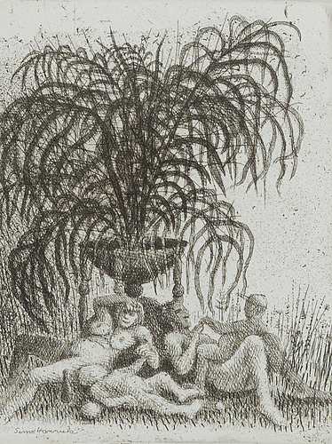 Simo hannula, etching, signed and dated 1976, numbered 27/50.