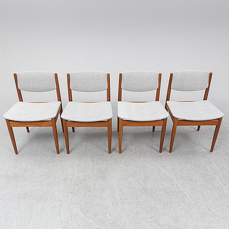 Finn juhl, four chairs, france & sons, denmark.