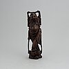 A large chinese carved wooden and silver inlaid sculpture/figure of an immortal,  20th century.