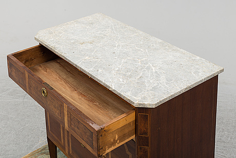 A gustavian style chest of drawers, late 19th century.