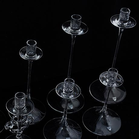 Nils landberg, 8 glass candlesticks, orrefors.