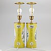 A pair of chinese famille rose hat stands, turned into table lamps, 20th century.