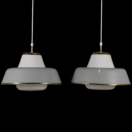 Lisa johansson-pape, a pair of mid-20th-century ceiling pendant lights for orno, finland.