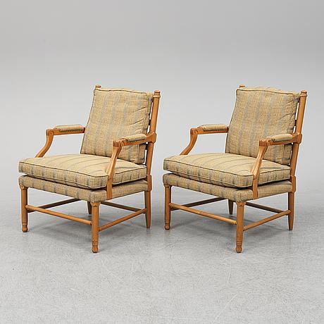 FÅtÖljer, ett par, gustaviansk stil av s.k. gripsholmsmodell, norells möbler, 1900-talets slut.