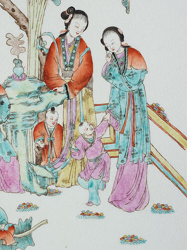 A chinese famille rose porcelain placquer, early 20th century.