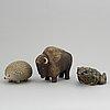 Three stoneware figurines for wwf, lisa larson and poul hoff, gustavsberg.