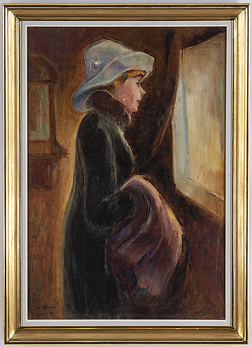 Agnes cleve, oil on canvas, signed a. cleve and dated 1912-31.