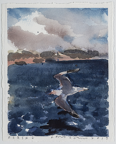 Lars lerin, watercolour, signed and dated 2019.