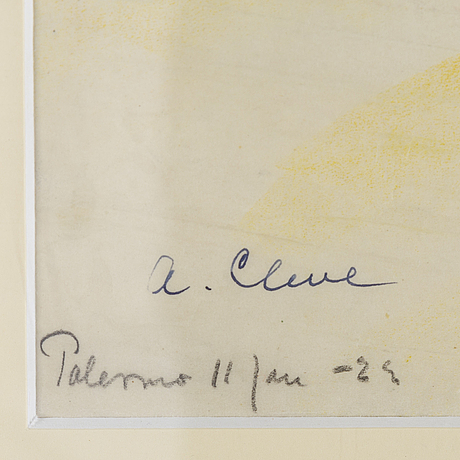 Agnes cleve, crayon on paper, signed a cleve and dated palermo 11 jan -22.
