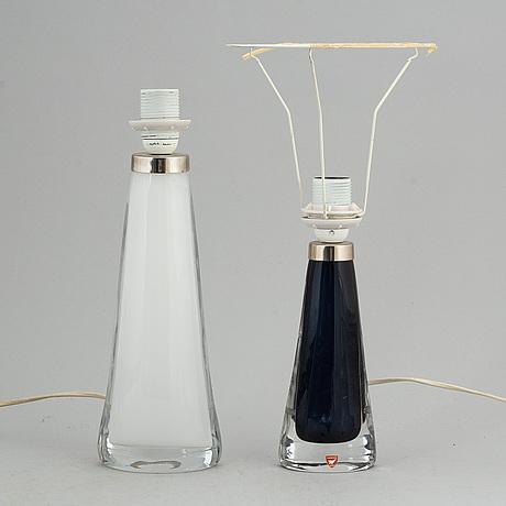 Carl fagerlund, bordslampor, 2 st, glas, orrefors.
