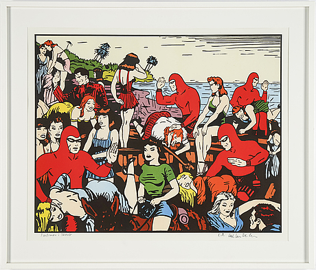 Carl johan de geer, lithograph in colours, signed ea.