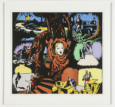 Carl johan de geer, lithograph in colours, signed 92/290.