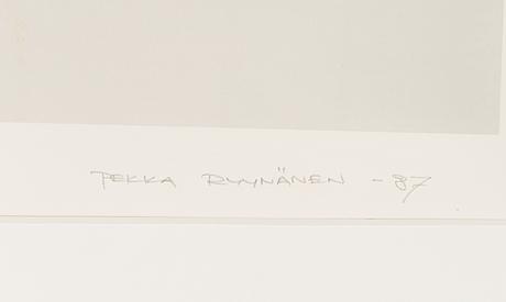 Pekka ryynÄnen, serigrafia, signeerattu ja päivätty -87, numeroitu 8/15.