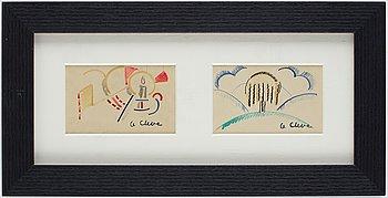 Agnes Cleve, water colours, 2, framed together, 1916-17, signed.