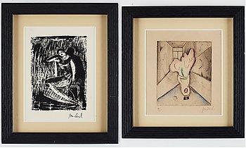 John Jon-And, etching and a linolium cut, signed.