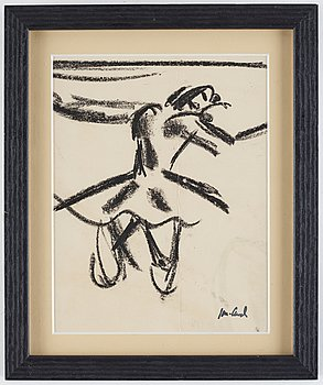 John Jon-And, 2 pieces, pastel on paper, signed with stamp and lithograph, 1922, signed with stamp. (2).